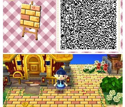 どうぶつの森:【QRコード】かわいいレンガ地面のマイデザイン(草・小道・ピンク)